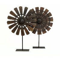 Assorted Wood and Iron Loom Wheel With Base