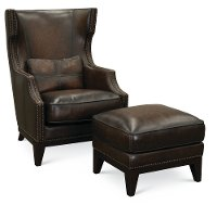 Brown 2 Piece Leather Accent Chair and Ottoman - Hillsboro