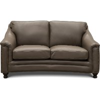 6590/BILLINGHAM/LV Classic Modern Clay Brown Leather Loveseat - Billingham