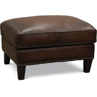 6589/MANCHESTER/OT Traditional Brown Leather Storage Ottoman - Manchester