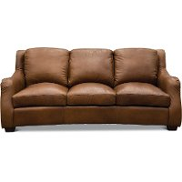 Traditional Natural Brown Leather Sofa - Carmel