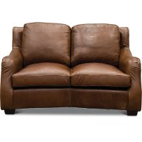 Traditional Natural Brown Leather Loveseat - Carmel