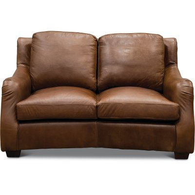 Traditional Natural Brown Leather Loveseat   Carmel