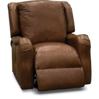 Traditional Natural Brown Leather Power Recliner - Carmel