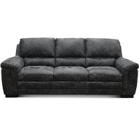 Casual Contemporary Gray Leather Sofa - Outback
