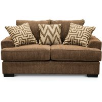 Casual Contemporary Walnut Brown Loveseat - Renegade