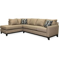 Casual Contemporary Tweed Brown 2 Piece Sectional Sofa - Emerson