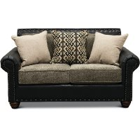 Rustic Traditional Black and Brown Loveseat - Marksman