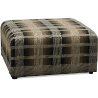 Casual Rustic Brown Plaid Cocktail Ottoman - Marksman