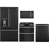 KIT GE Cafe 4 Piece Kitchen Appliance Package with Gas Range - Black Slate
