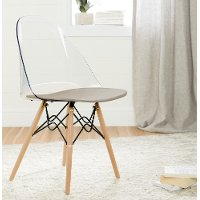 100276 Clear and Gray Eiffel Style Chair - Annexe
