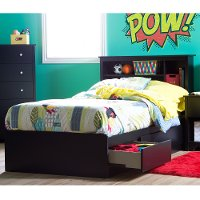 11273 Black Twin Mates Storage Bed & Bookcase Headboard - Vito
