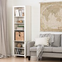 100261 Narrow White Bookcase with Basket - Hopedale