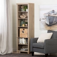 100262 Narrow Oak Bookcase with Basket - Hopedale