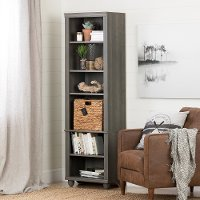100263 Narrow Gray Bookcase with Basket - Hopedale