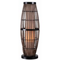 Rattan Outdoor Table Lamp with Bronze Accents - Biscayne