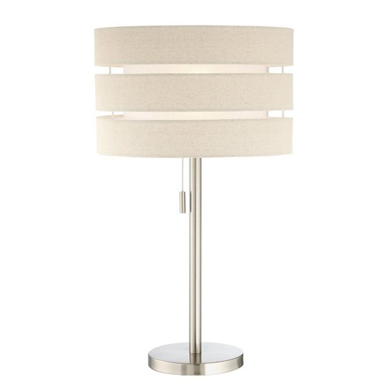 27 Inch Brushed Nickel Table Lamp with Linen Shade - Falan