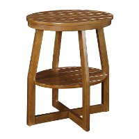 Brown Oval Slatted Accent Table - Cooper