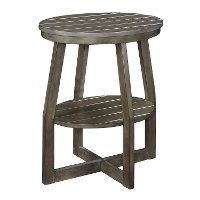 Gray Oval Slatted Accent Table - Cooper