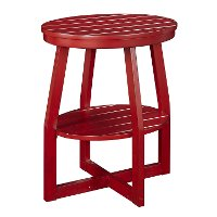 Red Oval Slatted Accent Table - Cooper