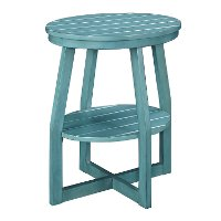 Teal Oval Slatted Accent Table - Cooper