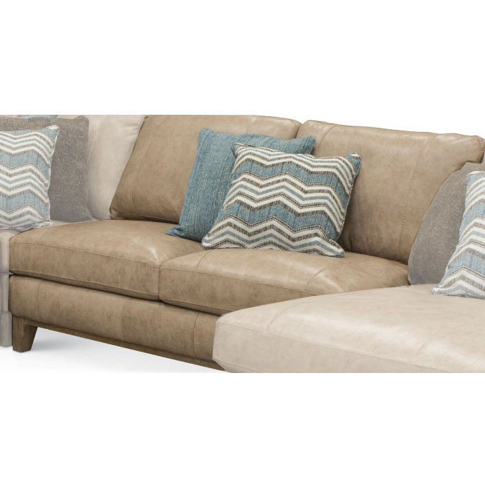 Contemporary Sand Leather Armless Loveseat - Mutual