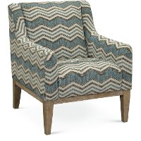Contemporary Blue Chevron Upholstered Accent Chair - Mutual