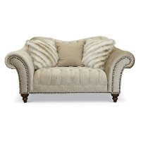 Traditional Golden Sand Embossed Velvet Loveseat - Lorraine