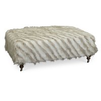 Traditional Denali Smoke Fur Cocktail Ottoman - Lorraine