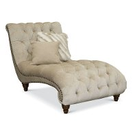 Traditional Golden Sand Embossed Velvet Chaise - Lorraine