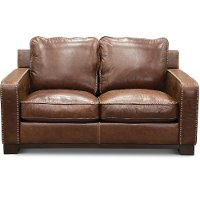 Casual Classic Sandalwood Brown Leather Loveseat - Pinkerton