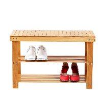 2-Tier Shoe Rack Bench Organizer - Natural Bamboo