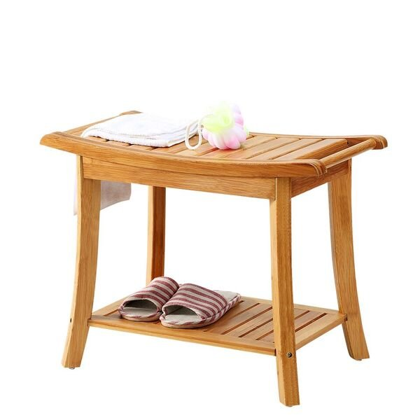 Shower Bench Seat Shaving Stool With Storage Shelf Natural Bamboo