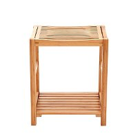 Shower Bench Seat / Shaving Stool with Storage Shelf - Natural Bamboo