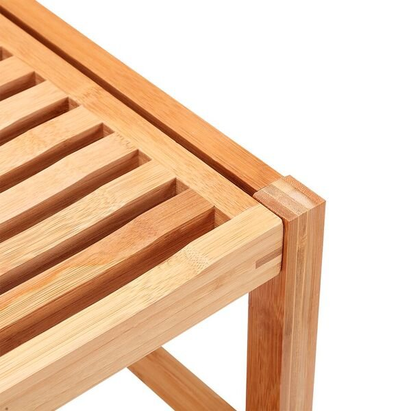 Shower Bench Seat / Shaving Stool With Storage Shelf   Natural Bamboo | RC  Willey Furniture Store