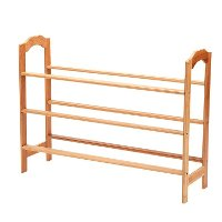 3-Tier Shoe Rack Tower Shelf Storage Organizer - Natural Bamboo