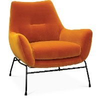 Mid Century Modern Amber Orange Accent Chair - Falkirk