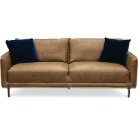 Mid-Century Modern Camel Brown Leather Sofa - Marseille