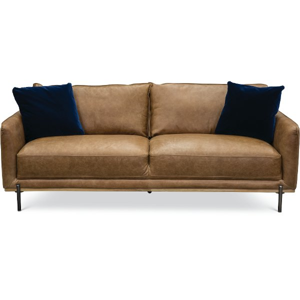 Mid Century Modern Camel Brown Leather Sofa Mille