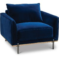 Modern Royal Blue Velvet Chair - Marseille