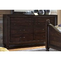 Traditional Dark Brown Dresser - Catawba
