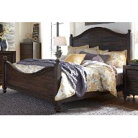 Traditional Dark Brown Queen Size Bed - Catawba