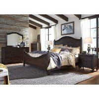 Traditional Dark Brown 4 Piece Queen Bedroom Set - Catawba