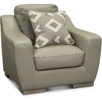 Contemporary Cement Gray Leather Chair - Bowie