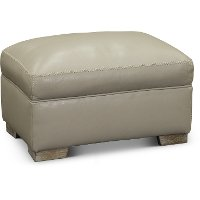Contemporary Cement Gray Leather Ottoman - Bowie