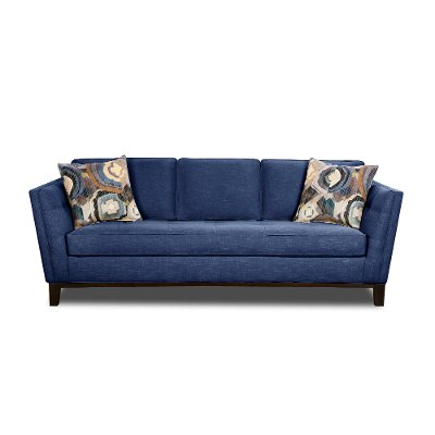 Mid-Century Modern Blue Sofa - Patchquilt