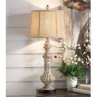 Resin Antique Wood and Black Table Lamp - Cameron