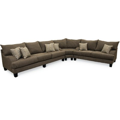 Contemporary Dark Gray 3 Piece Sectional Sofa   Laguna