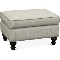 Casual Classic Taupe Stripe Accent Ottoman - Paula Deen