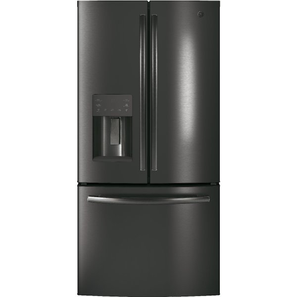 ... GYE18JBLTS GE French Door Refrigerator   33 Inch Black Stainless Steel  Counter Depth